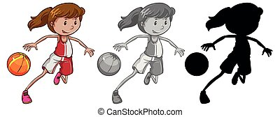 Set of female basketball player