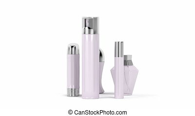Set of female cosmetic products (perfume, body sprays,...