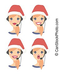 Set of female emoji customer support phone operator in...
