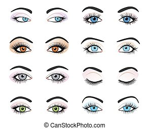 Set of female eyes and brows image with beautifully fashion...