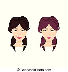 Set of Female Face With Different Hairstyles Isolated On White Background, Women Portraits