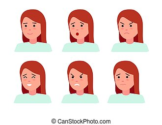 Set of female facial emotions. Woman emoji character with different expressions.