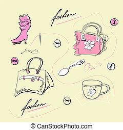 Set of female fashion accessories