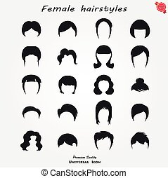 Set of female hairstyles