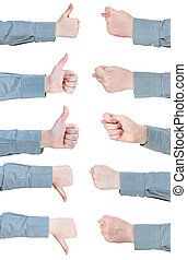 set of female hand gesture with thumbs