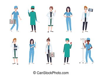 Set of female medical workers. Bundle of women medics dressed in white coats and scrubs - doctor or physician, paramedic, nurse, surgeon, laboratory assistant. Flat cartoon vector illustration.