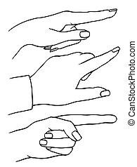 index finger shows gesture upward - Set of female s hands,...