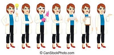 Set Of Female Scientist Actions