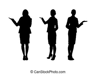 Set of female silhouettes with outstretched arm, flat design