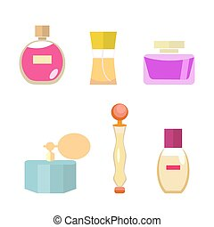 Set of female spirits in a flat style isolated on white background. Pleasant aroma. Vector, illustration EPS10.