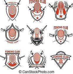 Set of Fencing club labels. Fencing swords. Design elements for emblem, sign, badge. Vector illustration