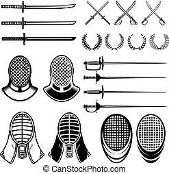 Set of Fencing design elements. Fencing swords, masks, japan...