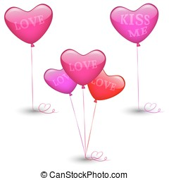 Set of festive balloons in the shape of heart
