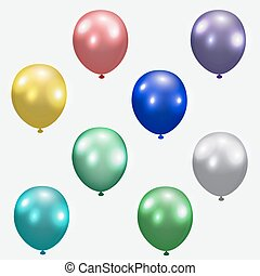 Set of festive balloons. Realistic, colorful, colorful. Isolated white background. illustration