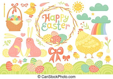 Set of Festive Decorations for Happy Easter. Congratulatory inscription, painted eggs, willow wreath, rabbits, chicken, basket and other elements
