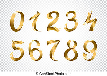 set of festive gold ribbon digits vector. golden iridescent gradient