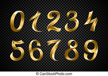 set of festive gold ribbon digits vector. golden iridescent gradient number geometric design on black background