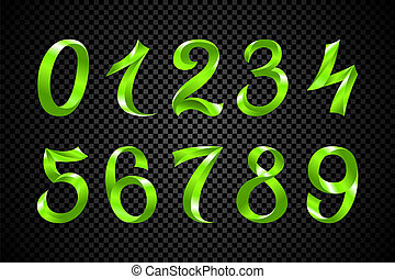 set of festive green ribbon digits vector. iridescent gradient number geometric design on black background