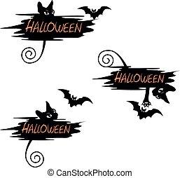 Set of festive label for Halloween