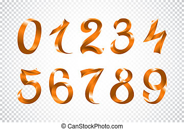 set of festive orange ribbon digits vector. iridescent gradient