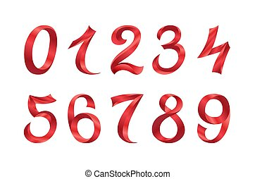 set of festive red ribbon digits vector. iridescent gradient