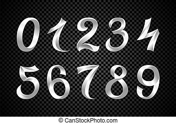 set of festive white ribbon digits vector. iridescent gradient number geometric design on black background