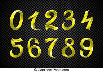 set of festive yellow ribbon digits vector. iridescent gradient number geometric design on black background