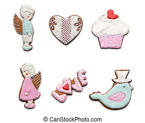 Set of few different tasty cookies on white background on ...