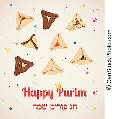 Set of few different tasty Hamantaschen . happy purim, jewish holiday