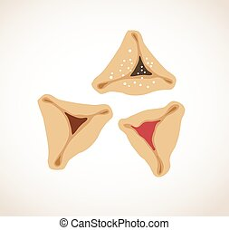 Set of few different tasty Hamantaschen . happy purim,...