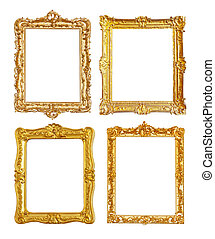 Set of few gold picture frames on white