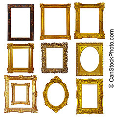 Set of few gold picture frames