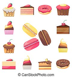 Set of fifteen delicious desserts for a menu - Set of...