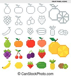 fruit pixel icons