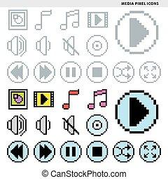 media pixel icons