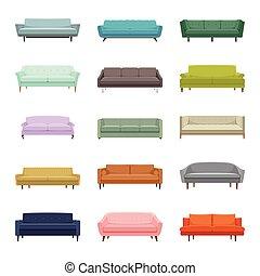 Set of fifteen vector sofas. Elements of interior. Modern flat design illustration