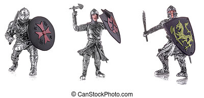 Set of figurine a medieval knightes isolated on white
