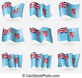 Set of Fiji flags in the air. Vector