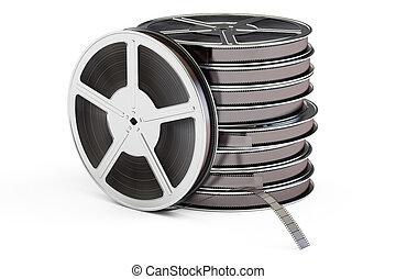 Set of film reels, 3D rendering