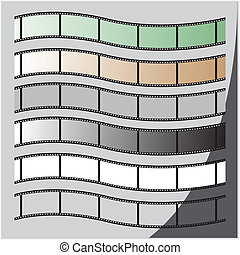 set of film strip with a wave vector illustration
