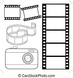 set of film strips and photocamera