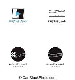 Set of filmstrip Logo Template vector illustration
