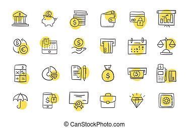 Set of finance and business icons.