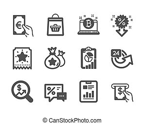 Set of Finance icons, such as Bitcoin, Loyalty points, Atm service. Vector