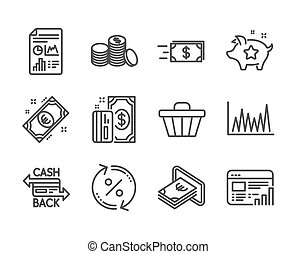 Set of Finance icons, such as Loyalty points, Payment, Line graph. Vector