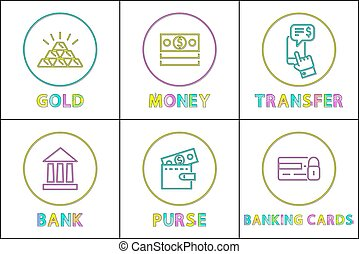 Set of finance, money and bank icons in vector