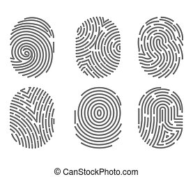 Set of fingerprint types with twisted lines signs isolated