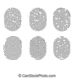 Set of fingerprint types with twisted lines signs isolated vector