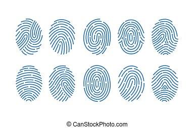 Set of fingerprints of various types isolated on white...