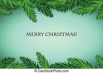 Set of fir branches. Christmas tree, pine, winter
